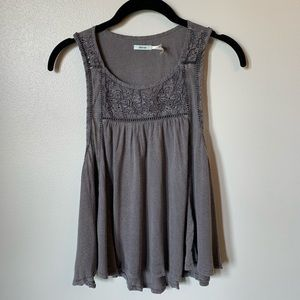 Kimchi Blue Grey Embroidered Swing Tank